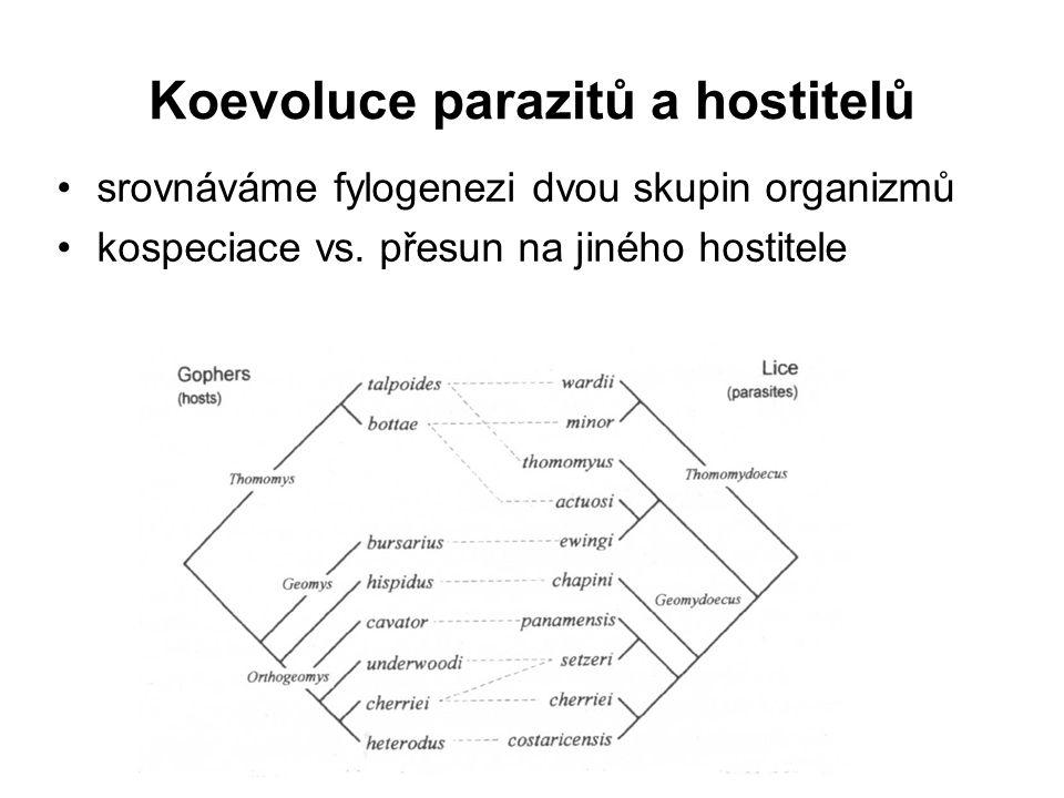 Koevoluce parazitů a hostitelů srovnáváme fylogenezi dvou skupin organizmů kospeciace vs. přesun na jiného hostitele