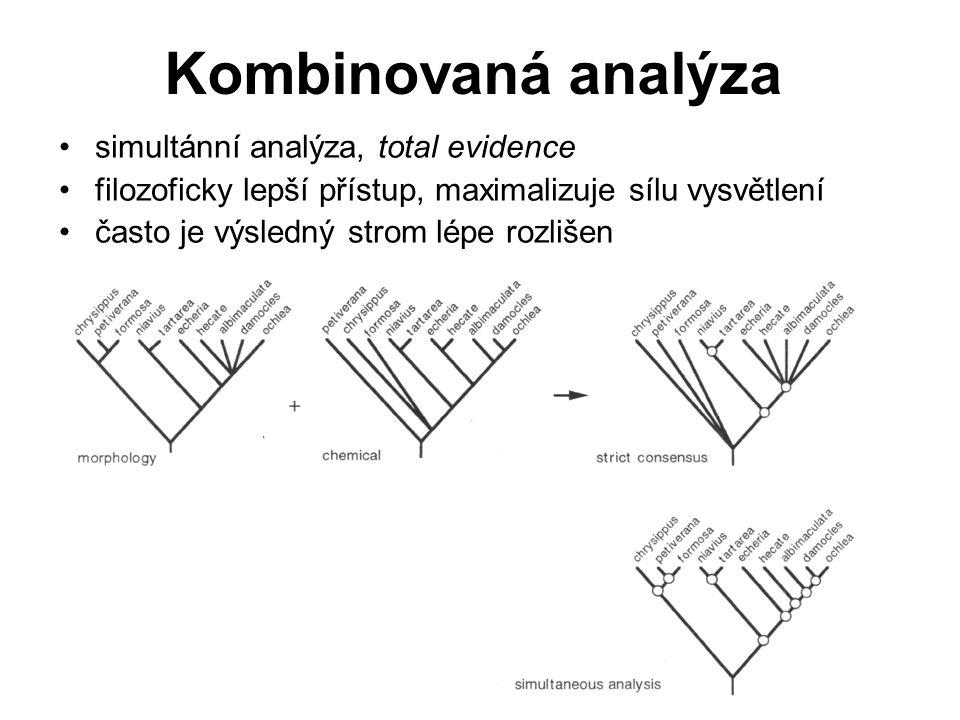 Oddělené analýzy data rozdílná svou podstatou by měla být analyzována zvlášť, nezávisle lze použít rozdílné algoritmy lepší v případě velmi rozdílného – obsahu homoplázie (informace/šum) – počtu znaků rozdílné taxony (superstrom, supertree) testy nesouladu mezi dvěma datovými soubory: incongruence length difference (ILD, Farris et al.