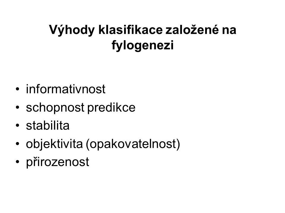 Výhody klasifikace založené na fylogenezi informativnost schopnost predikce stabilita objektivita (opakovatelnost) přirozenost