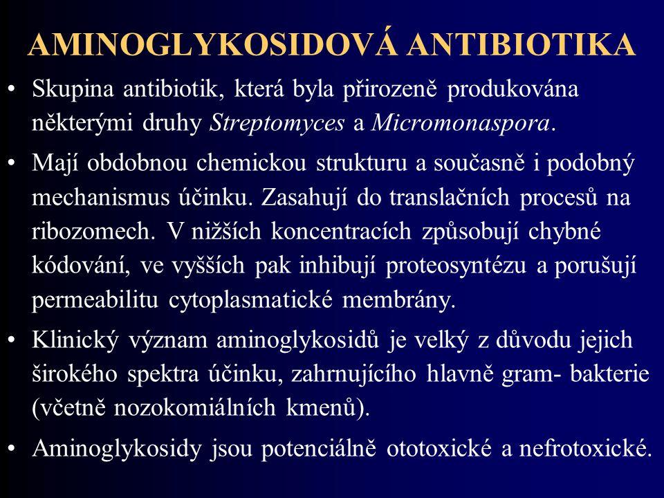 AMINOGLYKOSIDOVÁ ANTIBIOTIKA Skupina antibiotik, která byla přirozeně produkována některými druhy Streptomyces a Micromonaspora. Mají obdobnou chemick