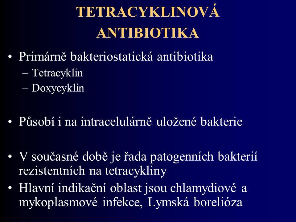 TETRACYKLINOVÁ ANTIBIOTIKA Primárně bakteriostatická antibiotika –Tetracyklin –Doxycyklin Působí i na intracelulárně uložené bakterie V současné době
