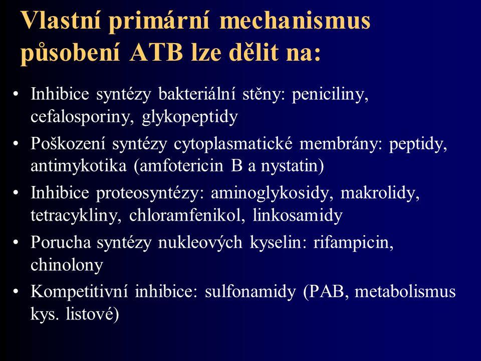 Vlastní primární mechanismus působení ATB lze dělit na: Inhibice syntézy bakteriální stěny: peniciliny, cefalosporiny, glykopeptidy Poškození syntézy