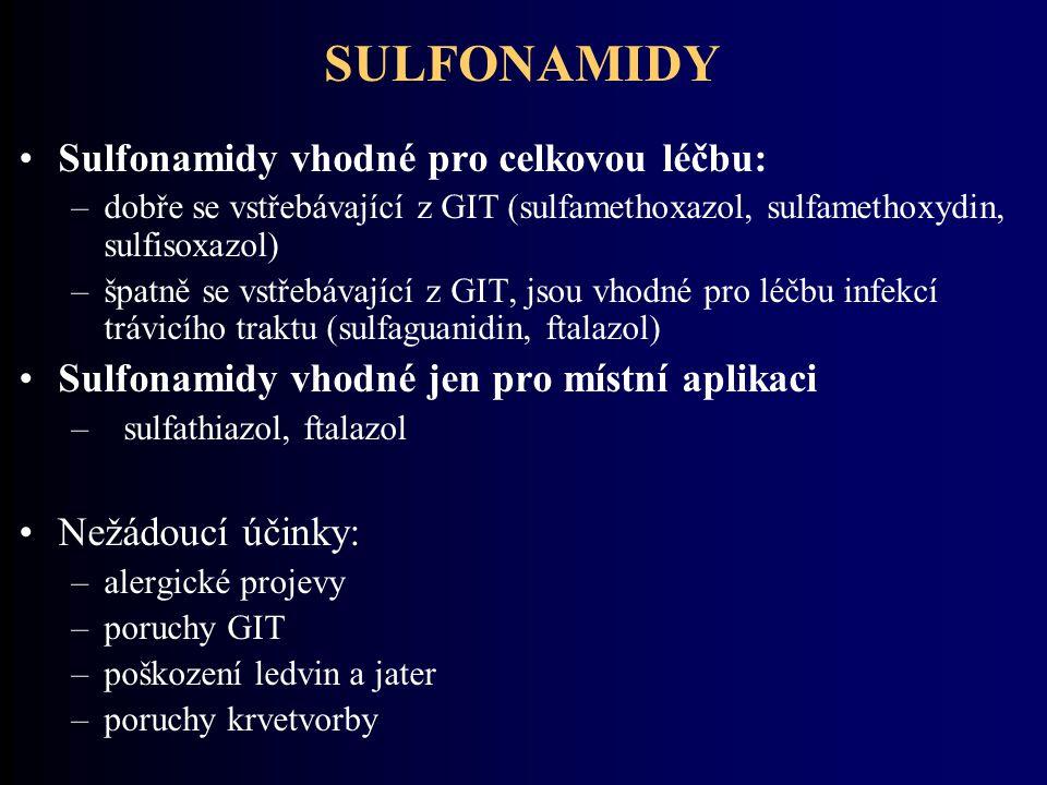 SULFONAMIDY Sulfonamidy vhodné pro celkovou léčbu: –dobře se vstřebávající z GIT (sulfamethoxazol, sulfamethoxydin, sulfisoxazol) –špatně se vstřebáva