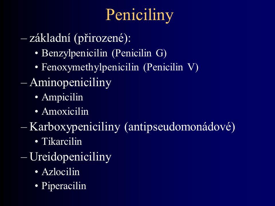 Peniciliny –základní (přirozené): Benzylpenicilin (Penicilin G) Fenoxymethylpenicilin (Penicilin V) –Aminopeniciliny Ampicilin Amoxicilin –Karboxypeni
