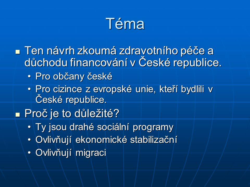 Téma Ten návrh zkoumá zdravotního péče a důchodu financování v České republice.