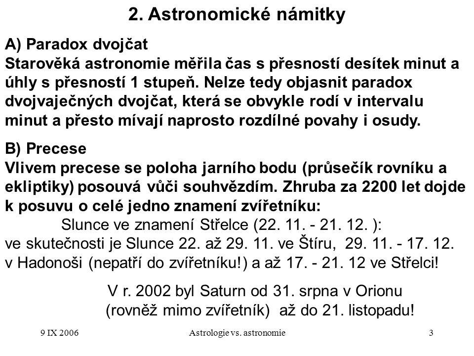 9 IX 2006Astrologie vs.