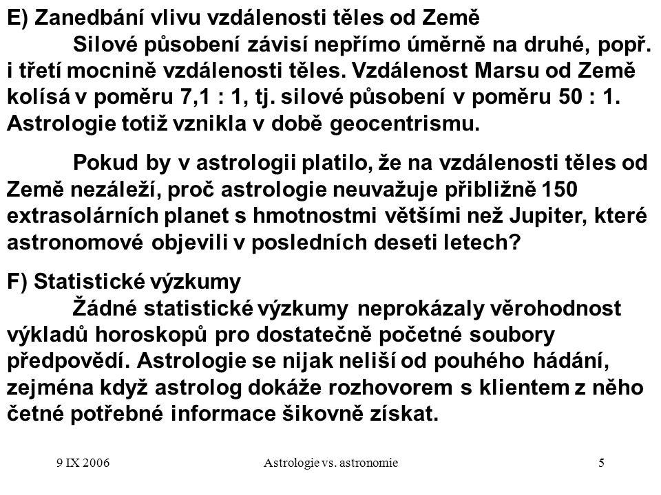 9 IX 2006Astrologie vs.astronomie6 3.