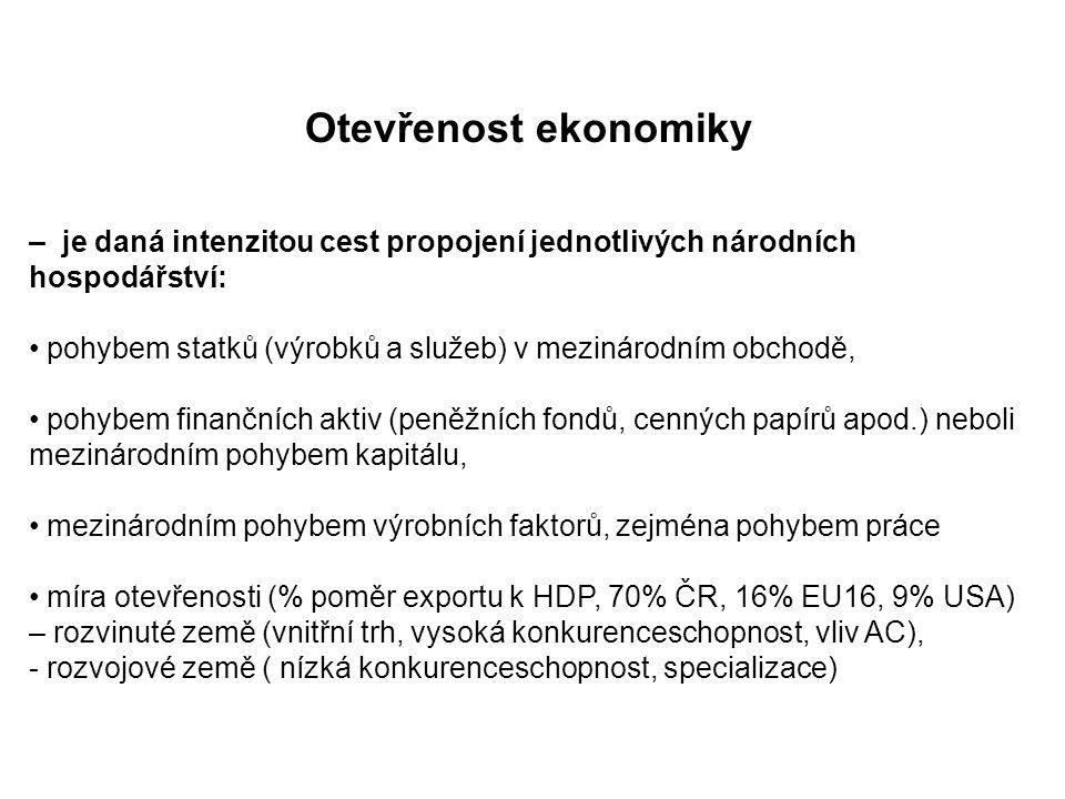 Otevřenost ekonomiky – je daná intenzitou cest propojení jednotlivých národních hospodářství: pohybem statků (výrobků a služeb) v mezinárodním obchodě, pohybem finančních aktiv (peněžních fondů, cenných papírů apod.) neboli mezinárodním pohybem kapitálu, mezinárodním pohybem výrobních faktorů, zejména pohybem práce míra otevřenosti (% poměr exportu k HDP, 70% ČR, 16% EU16, 9% USA) – rozvinuté země (vnitřní trh, vysoká konkurenceschopnost, vliv AC), - rozvojové země ( nízká konkurenceschopnost, specializace)