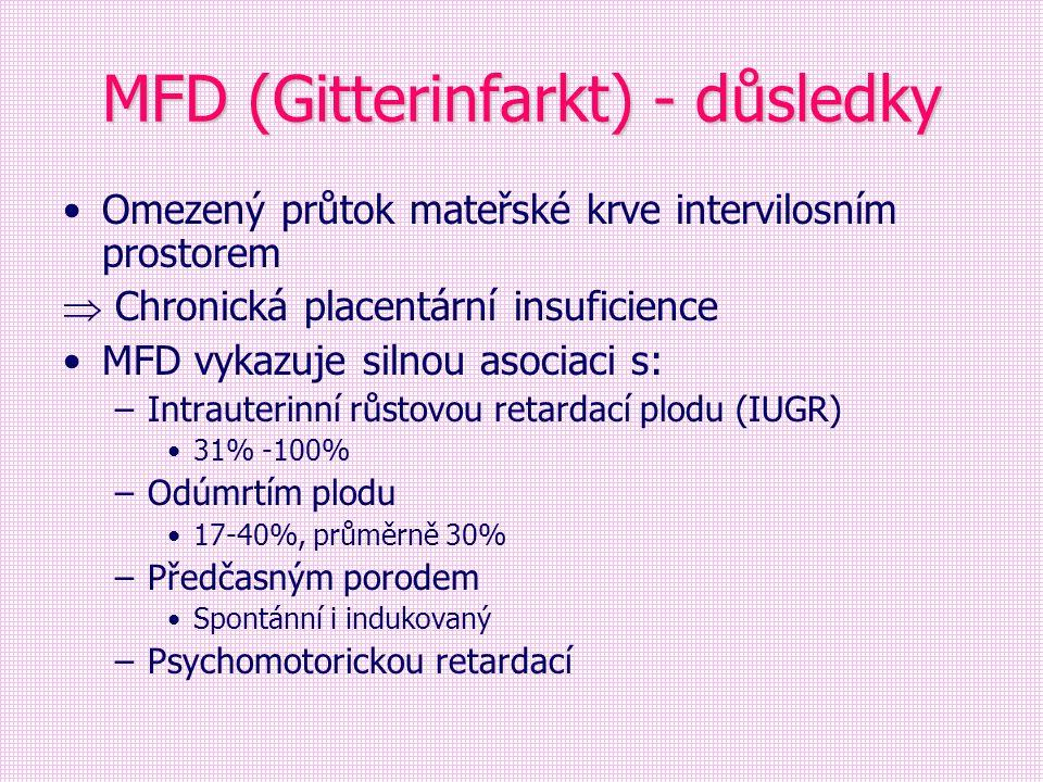 MFD (Gitterinfarkt) - důsledky Omezený průtok mateřské krve intervilosním prostorem  Chronická placentární insuficience MFD vykazuje silnou asociaci