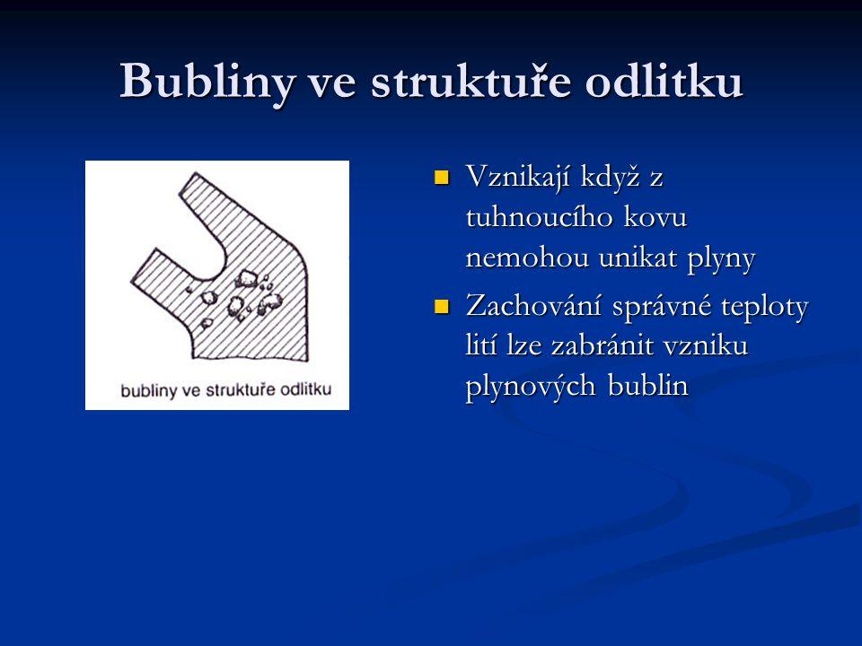 Vznikají když z tuhnoucího kovu nemohou unikat plyny Zachování správné teploty lití lze zabránit vzniku plynových bublin Bubliny ve struktuře odlitku