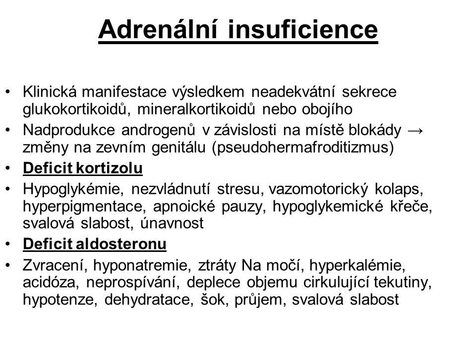 Adrenální insuficience Klinická manifestace výsledkem neadekvátní sekrece glukokortikoidů, mineralkortikoidů nebo obojího Nadprodukce androgenů v závi