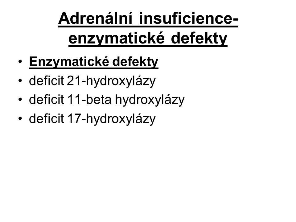 Adrenální insuficience- enzymatické defekty Enzymatické defekty deficit 21-hydroxylázy deficit 11-beta hydroxylázy deficit 17-hydroxylázy