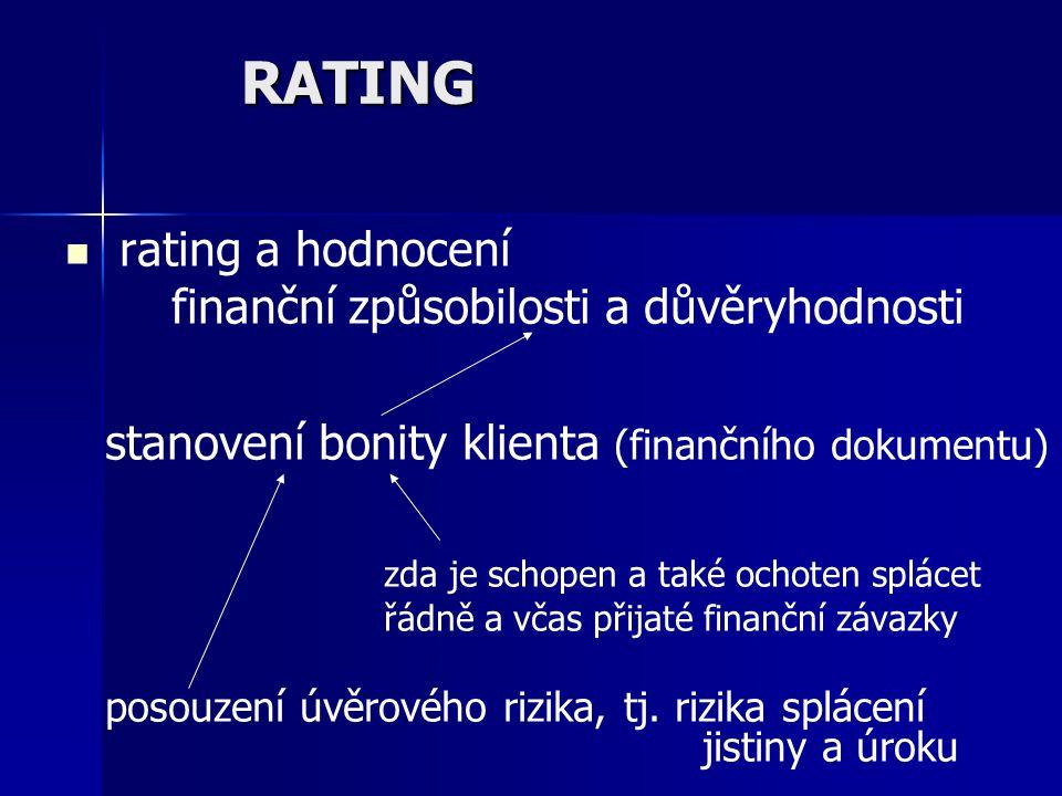 RATING rating a hodnocení finanční způsobilosti a důvěryhodnosti stanovení bonity klienta (finančního dokumentu) zda je schopen a také ochoten splácet řádně a včas přijaté finanční závazky posouzení úvěrového rizika, tj.