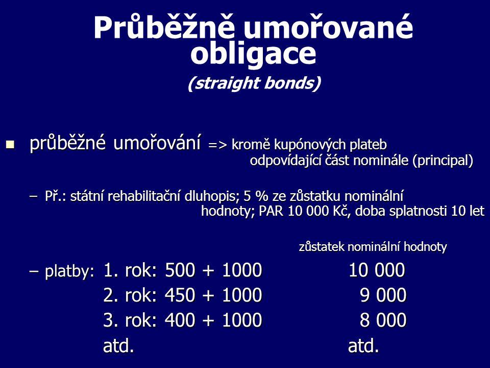 Průběžně umořované obligace (straight bonds) průběžné umořování => kromě kupónových plateb odpovídající část nominále (principal) průběžné umořování => kromě kupónových plateb odpovídající část nominále (principal) –Př.: státní rehabilitační dluhopis; 5 % ze zůstatku nominální hodnoty; PAR 10 000 Kč, doba splatnosti 10 let zůstatek nominální hodnoty –platby: 1.