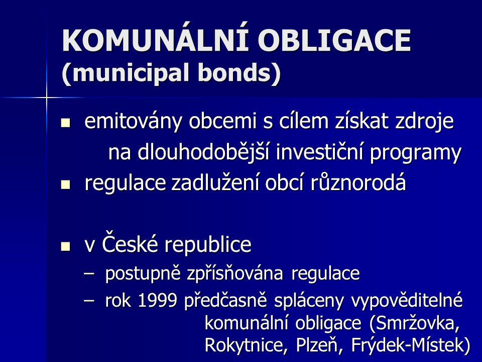 KOMUNÁLNÍ OBLIGACE (municipal bonds) emitovány obcemi s cílem získat zdroje emitovány obcemi s cílem získat zdroje na dlouhodobější investiční programy regulace zadlužení obcí různorodá regulace zadlužení obcí různorodá v České republice v České republice – postupně zpřísňována regulace – rok 1999 předčasně spláceny vypověditelné komunální obligace (Smržovka, Rokytnice, Plzeň, Frýdek-Místek)