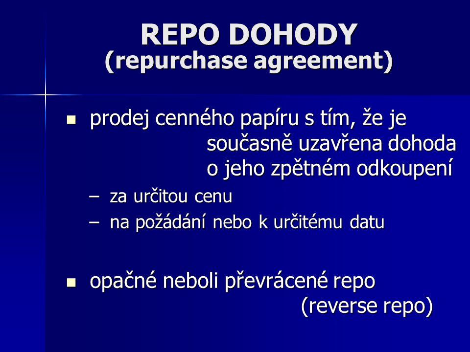 REPO DOHODY (repurchase agreement) prodej cenného papíru s tím, že je současně uzavřena dohoda o jeho zpětném odkoupení prodej cenného papíru s tím, že je současně uzavřena dohoda o jeho zpětném odkoupení – za určitou cenu – na požádání nebo k určitému datu opačné neboli převrácené repo (reverse repo) opačné neboli převrácené repo (reverse repo)
