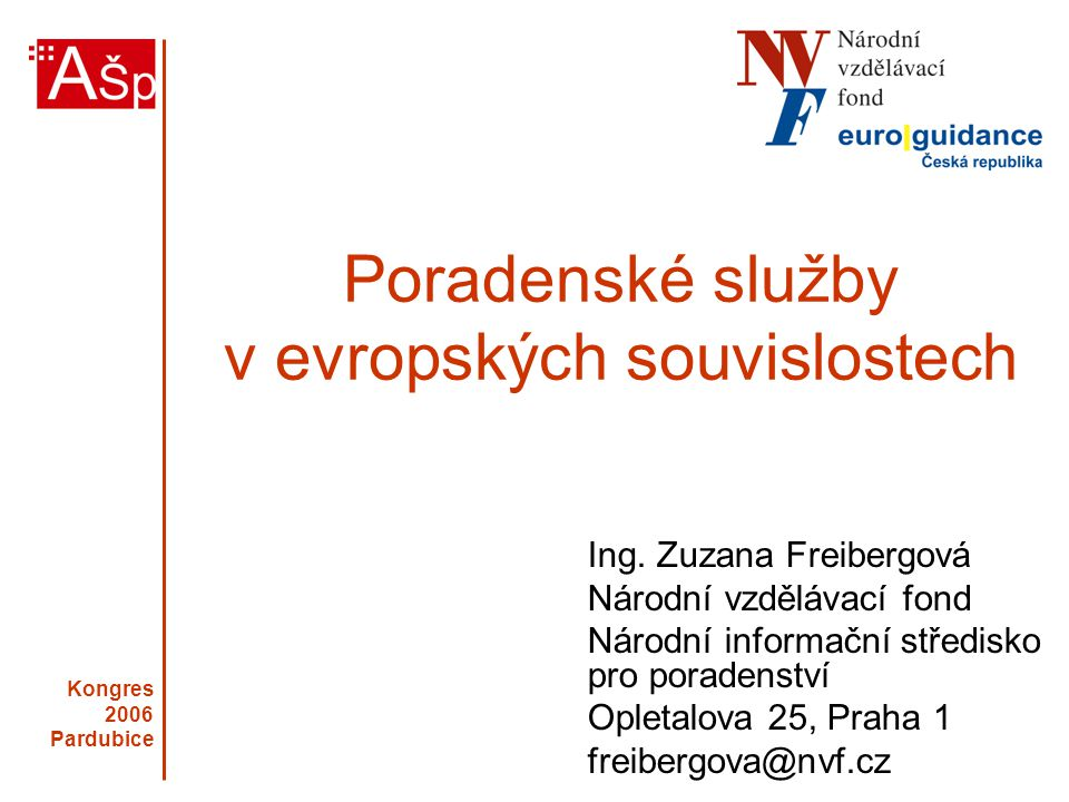 Kongres 2006 Pardubice Evropa jako konkurenceschopná, dynamická společnost založená na znalostech Evropa jako společnost bez sociálních předsudků Podpora zaměstnanosti a sociálního začleňování Souvislosti pro vzdělávací a poradenské systémy Lisabonská evropská strategie 2000 - 2010 Ekonomické a sociální cíle