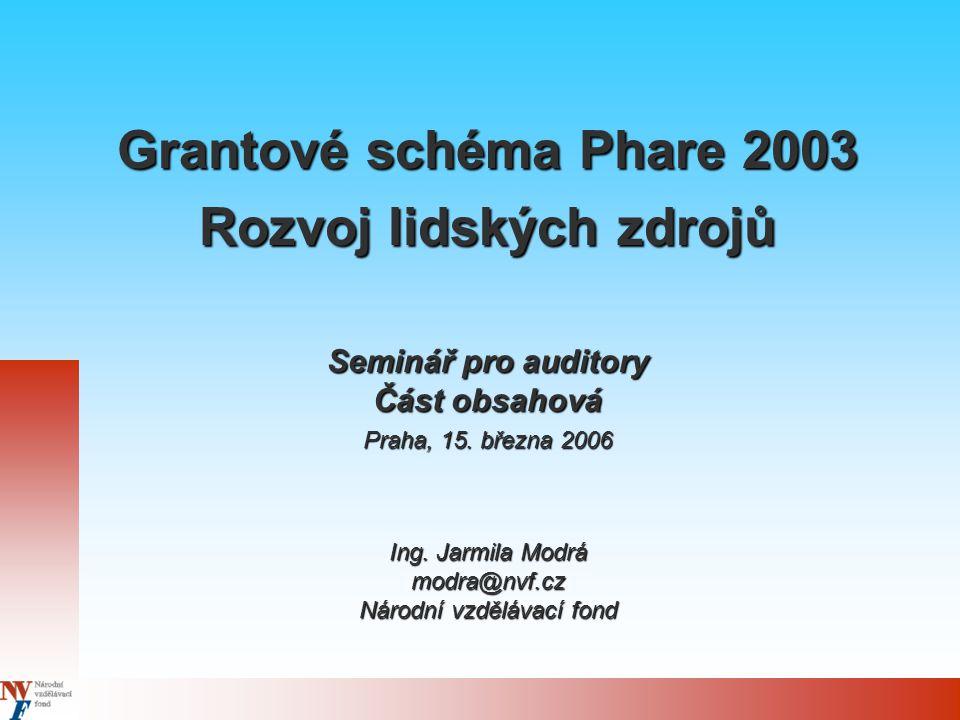 Grantové schéma Phare 2003 Rozvoj lidských zdrojů Seminář pro auditory Část obsahová Praha, 15. března 2006 Ing. Jarmila Modrá modra@nvf.cz Národní vz