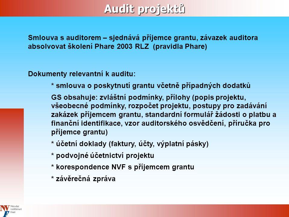 Audit projektů Smlouva s auditorem – sjednává příjemce grantu, závazek auditora absolvovat školení Phare 2003 RLZ (pravidla Phare) Dokumenty relevantní k auditu: * smlouva o poskytnutí grantu včetně případných dodatků GS obsahuje: zvláštní podmínky, přílohy (popis projektu, všeobecné podmínky, rozpočet projektu, postupy pro zadávání zakázek příjemcem grantu, standardní formulář žádosti o platbu a finanční identifikace, vzor auditorského osvědčení, příručka pro příjemce grantu) * účetní doklady (faktury, účty, výplatní pásky) * podvojné účetnictví projektu * korespondence NVF s příjemcem grantu * závěrečná zpráva