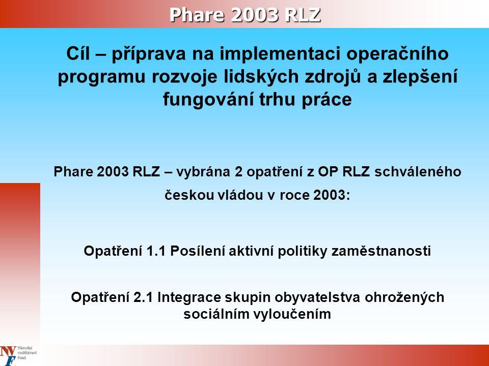 Phare 2003 RLZ Cíl – příprava na implementaci operačního programu rozvoje lidských zdrojů a zlepšení fungování trhu práce Phare 2003 RLZ – vybrána 2 opatření z OP RLZ schváleného českou vládou v roce 2003: Opatření 1.1 Posílení aktivní politiky zaměstnanosti Opatření 2.1 Integrace skupin obyvatelstva ohrožených sociálním vyloučením