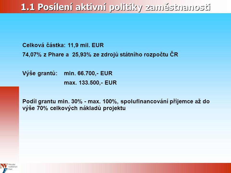 1.1 Posílení aktivní politiky zaměstnanosti Celková částka: 11,9 mil. EUR 74,07% z Phare a 25,93% ze zdrojů státního rozpočtu ČR Výše grantů: min. 66.