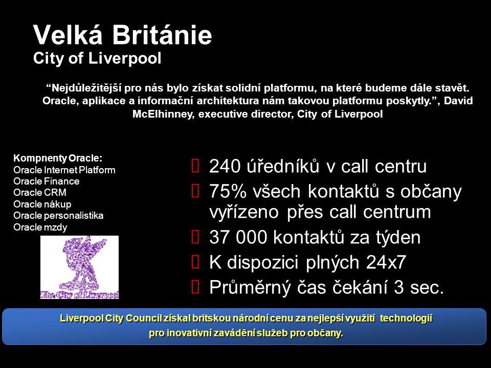 Velká Británie City of Liverpool  240 úředníků v call centru  75% všech kontaktů s občany vyřízeno přes call centrum  37 000 kontaktů za týden  K dispozici plných 24x7  Průměrný čas čekání 3 sec.