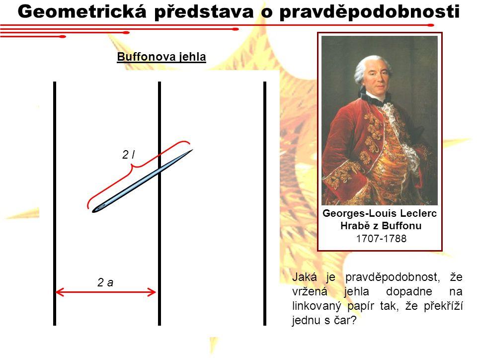 Geometrická představa o pravděpodobnosti Georges-Louis Leclerc Hrabě z Buffonu 1707-1788 2 l 2 a Buffonova jehla Jaká je pravděpodobnost, že vržená je