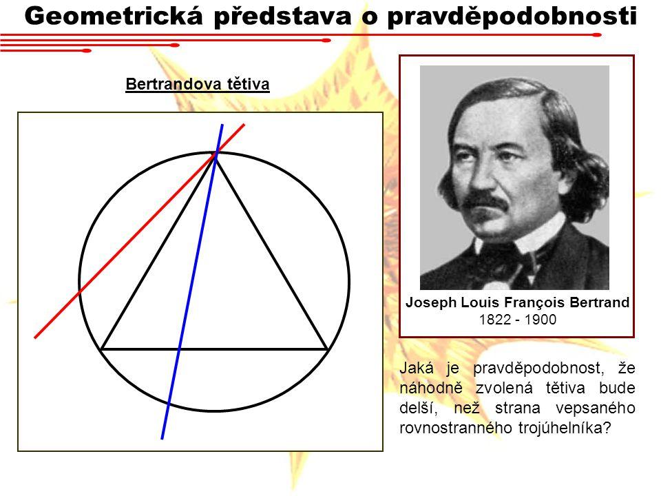 Geometrická představa o pravděpodobnosti Joseph Louis François Bertrand 1822 - 1900 Bertrandova tětiva Jaká je pravděpodobnost, že náhodně zvolená tět