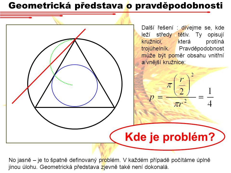 Geometrická představa o pravděpodobnosti Další řešení : dívejme se, kde leží středy tětiv. Ty opisují kružnici, která protíná trojúhelník. Pravděpodob