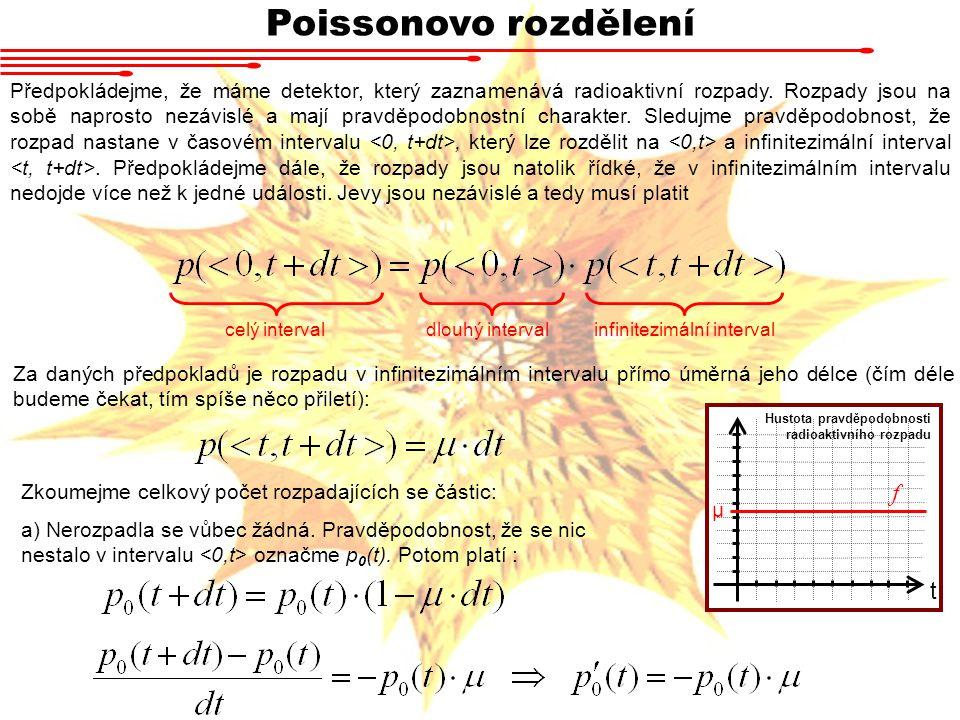 Poissonovo rozdělení Předpokládejme, že máme detektor, který zaznamenává radioaktivní rozpady. Rozpady jsou na sobě naprosto nezávislé a mají pravděpo