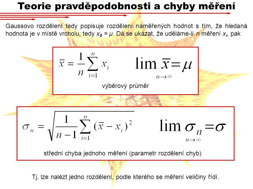 Teorie pravděpodobnosti a chyby měření Gaussovo rozdělení tedy popisuje rozdělení naměřených hodnot s tím, že hledaná hodnota je v místě vrcholu, tedy