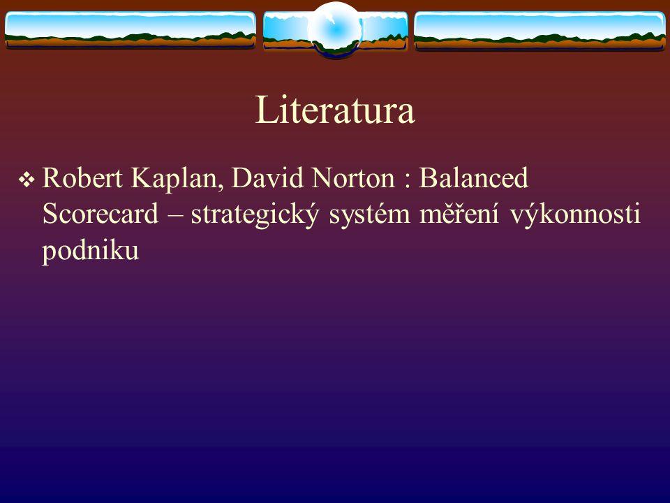 Literatura  Robert Kaplan, David Norton : Balanced Scorecard – strategický systém měření výkonnosti podniku