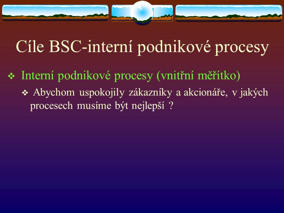 Cíle BSC-interní podnikové procesy  Interní podnikové procesy (vnitřní měřítko)  Abychom uspokojily zákazníky a akcionáře, v jakých procesech musíme být nejlepší ?
