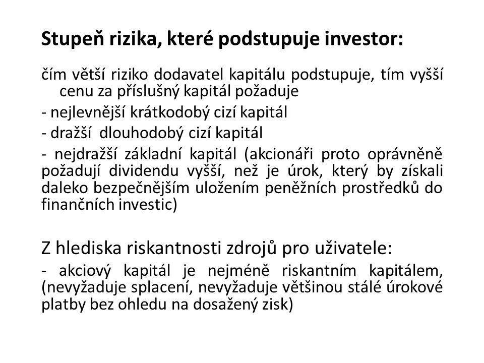 Stupeň rizika, které podstupuje investor: čím větší riziko dodavatel kapitálu podstupuje, tím vyšší cenu za příslušný kapitál požaduje - nejlevnější krátkodobý cizí kapitál - dražší dlouhodobý cizí kapitál - nejdražší základní kapitál (akcionáři proto oprávněně požadují dividendu vyšší, než je úrok, který by získali daleko bezpečnějším uložením peněžních prostředků do finančních investic) Z hlediska riskantnosti zdrojů pro uživatele: - akciový kapitál je nejméně riskantním kapitálem, (nevyžaduje splacení, nevyžaduje většinou stálé úrokové platby bez ohledu na dosažený zisk)