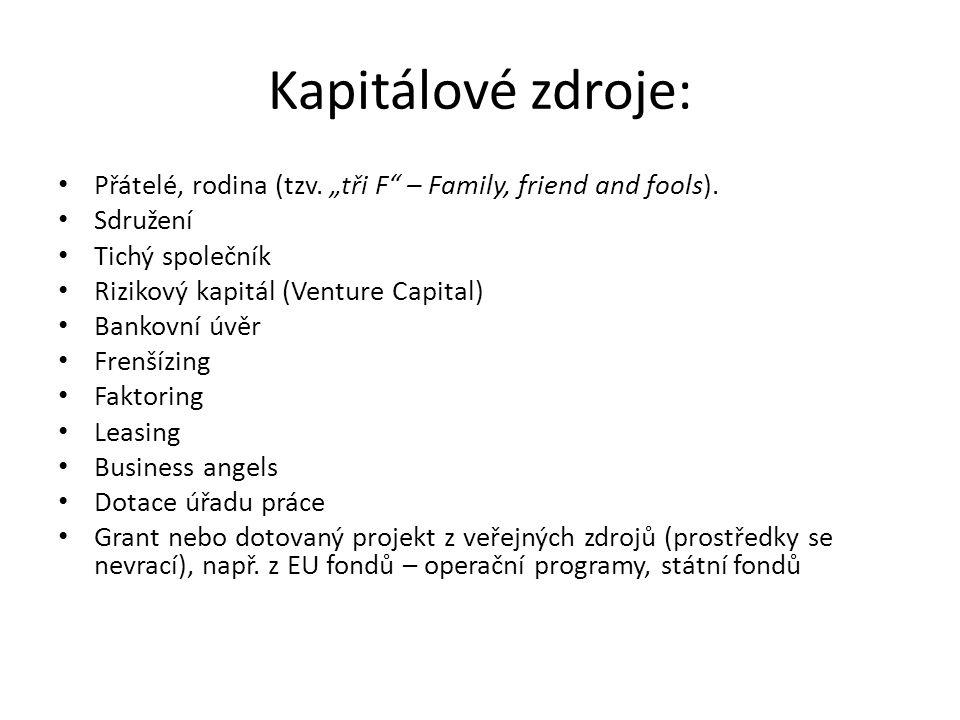 """Kapitálové zdroje: Přátelé, rodina (tzv.""""tři F – Family, friend and fools)."""
