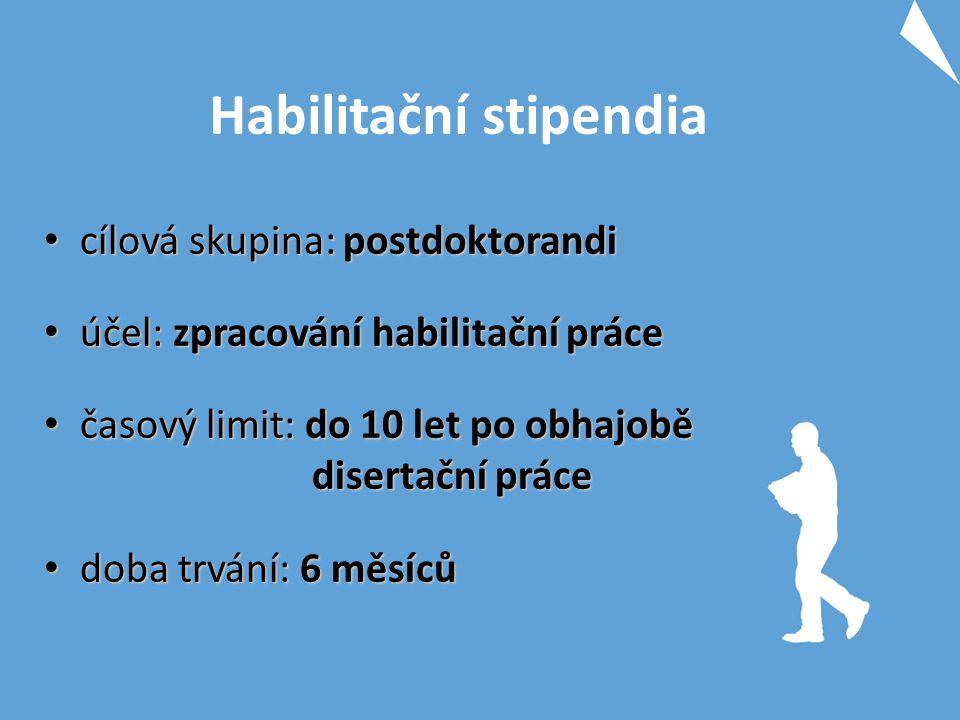 Habilitační stipendia cílová skupina: postdoktorandi cílová skupina: postdoktorandi účel: zpracování habilitační práce účel: zpracování habilitační pr