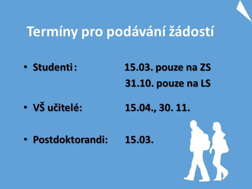Termíny pro podávání žádostí Studenti: 15.03. pouze na ZS Studenti: 15.03. pouze na ZS 31.10. pouze na LS 31.10. pouze na LS VŠ učitelé: 15.04., 30. 1