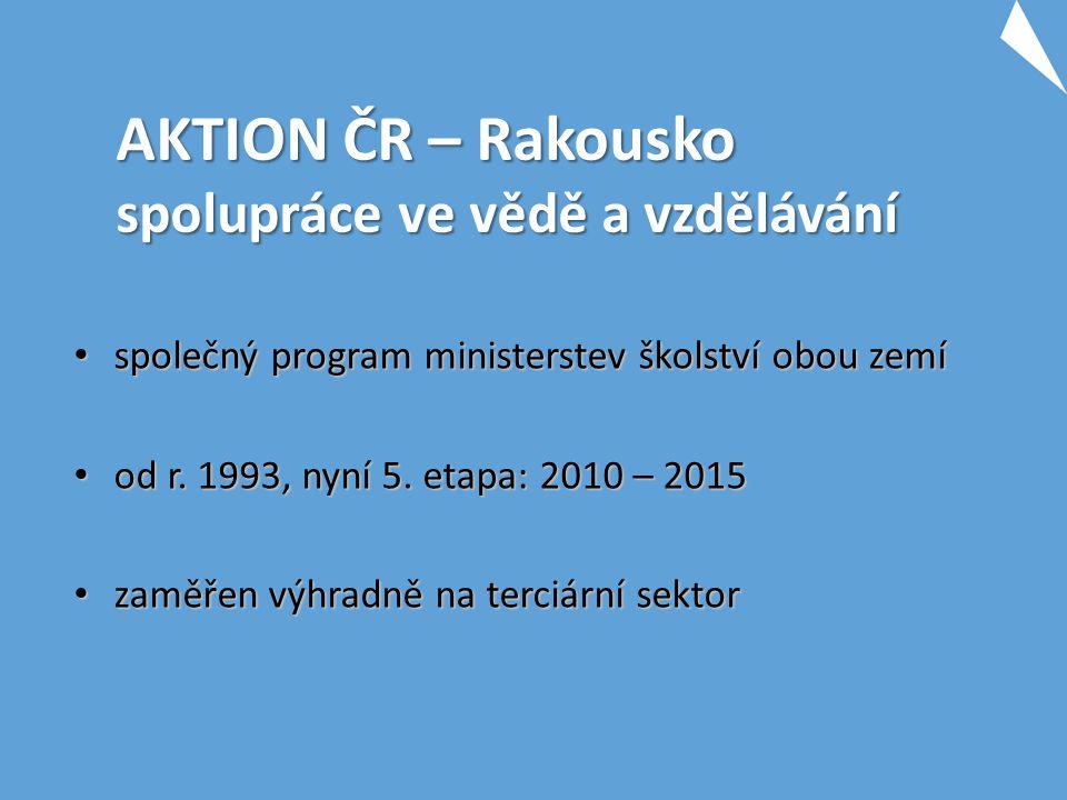 AKTION ČR – Rakousko spolupráce ve vědě a vzdělávání společný program ministerstev školství obou zemí společný program ministerstev školství obou zemí