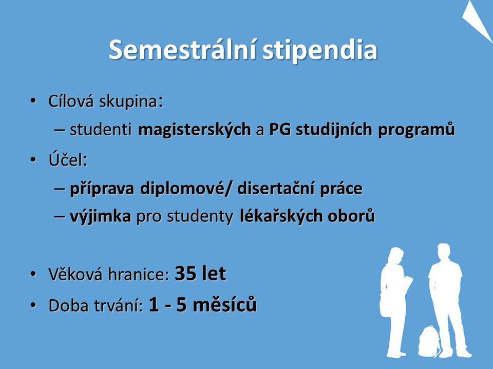 Semestrální stipendia Cílová skupina : Cílová skupina : – studenti magisterských a PG studijních programů Účel : Účel : – příprava diplomové/ disertač