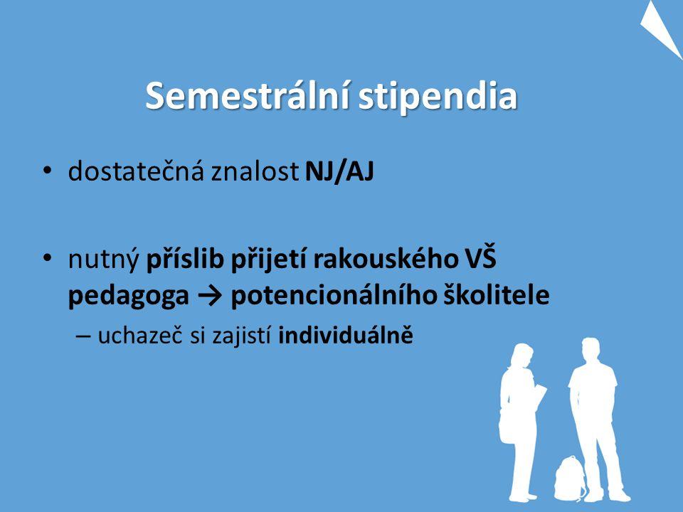 Semestrální stipendia dostatečná znalost NJ/AJ nutný příslib přijetí rakouského VŠ pedagoga → potencionálního školitele – uchazeč si zajistí individuá