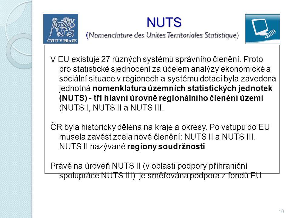 10 NUTS ( Nomenclature des Unites Territoriales Statistique NUTS ( Nomenclature des Unites Territoriales Statistique) V EU existuje 27 různých systémů