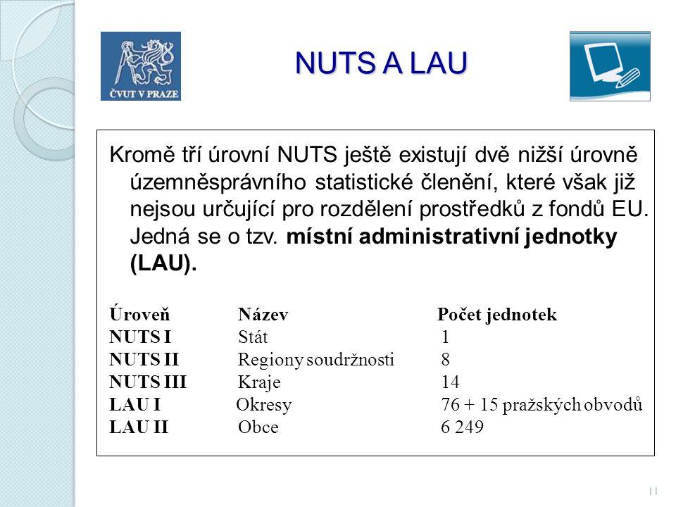 11 NUTS A LAU NUTS A LAU Kromě tří úrovní NUTS ještě existují dvě nižší úrovně územněsprávního statistické členění, které však již nejsou určující pro