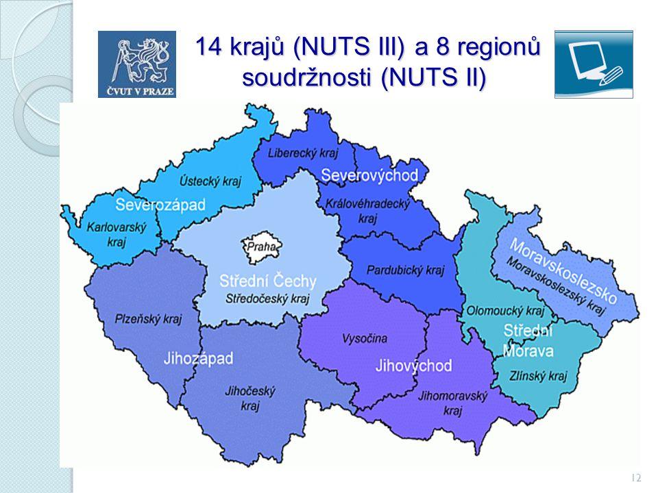 12 14 krajů (NUTS III) a 8 regionů soudržnosti (NUTS II) 14 krajů (NUTS III) a 8 regionů soudržnosti (NUTS II)