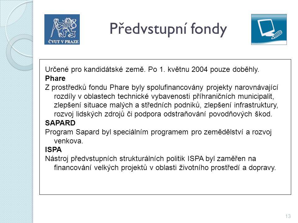 13 Předvstupní fondy Určené pro kandidátské země. Po 1. květnu 2004 pouze doběhly. Phare Z prostředků fondu Phare byly spolufinancovány projekty narov