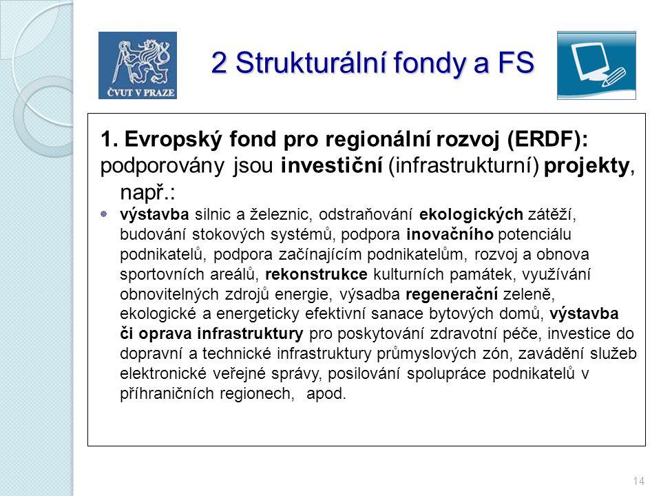 14 2 Strukturální fondy a FS 2 Strukturální fondy a FS 1. Evropský fond pro regionální rozvoj (ERDF): podporovány jsou investiční (infrastrukturní) pr