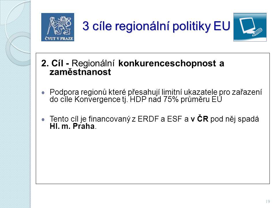 19 3 cíle regionální politiky EU 3 cíle regionální politiky EU 2. Cíl - Regionální konkurenceschopnost a zaměstnanost  Podpora regionů které přesahuj