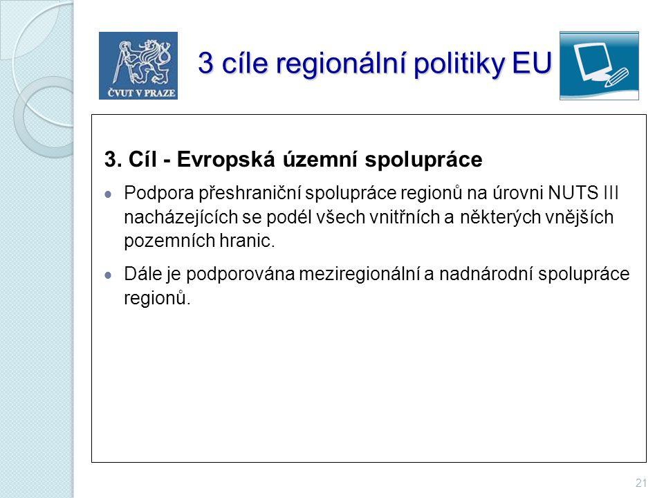 21 3 cíle regionální politiky EU 3 cíle regionální politiky EU 3. Cíl - Evropská územní spolupráce  Podpora přeshraniční spolupráce regionů na úrovni