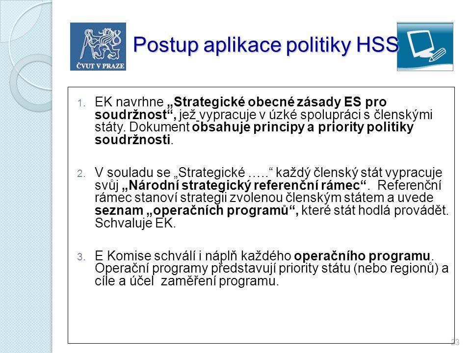 """23 Postup aplikace politiky HSS Postup aplikace politiky HSS 1. EK navrhne """"Strategické obecné zásady ES pro soudržnost"""", jež vypracuje v úzké spolupr"""