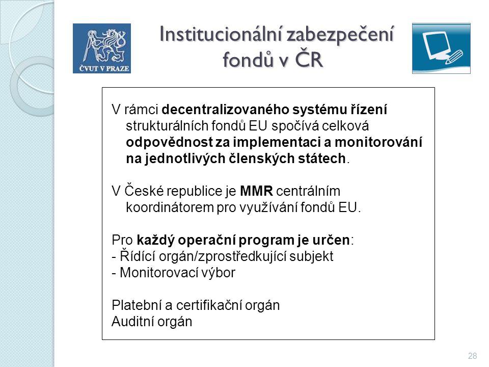 28 Institucionální zabezpečení fondů v ČR Institucionální zabezpečení fondů v ČR V rámci decentralizovaného systému řízení strukturálních fondů EU spo