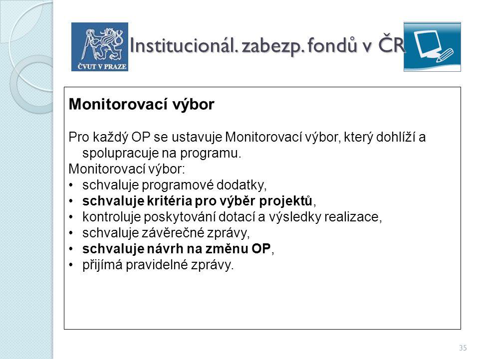 35 Institucionál. zabezp. fondů v ČR Monitorovací výbor Pro každý OP se ustavuje Monitorovací výbor, který dohlíží a spolupracuje na programu. Monitor